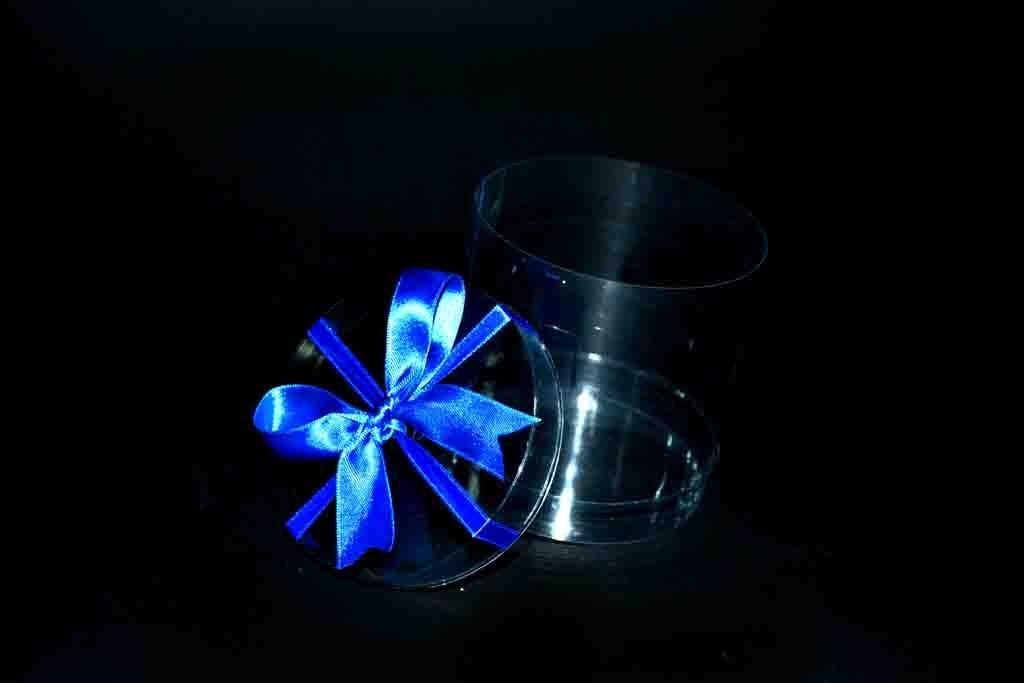 cutie rotunde plastic cu funda albastra